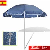 Sombrilla para Playa Redonda de Tela Azul 240 cm Parasol de Jardín al aire libre