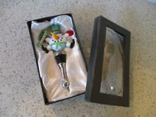 CHRISTMAS, HAPPY SNOWMAN BOTTLE STOPPER, GLASS SNOWMAN , LSArts, ORIGINAL BOX