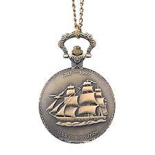 1 Orologio Collana Da Tasca Catenella Nave Ancora Intagliato Portafortuna Lega
