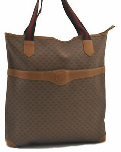 Auth GUCCI Web Sherry Line Micro GG Shoulder Tote Bag PVC Leather Brown C3491