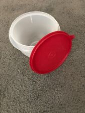 New*Tupperware*6 Cup*Mixing/Storage Bowl*Clear With Christmas Red Lid