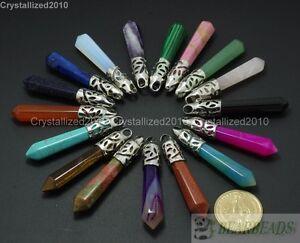Natural Gemstone Long Hexagonal Pointed Reiki Chakra Healing Pendant Beads Pick