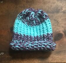 Newborn Baby Winter Hat-Handmade-Purple-Sea Foam Green-Thick-Cap-Beanie-Kn it