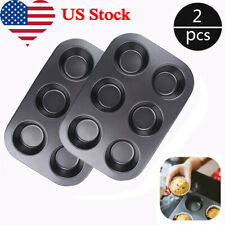 2Pcs 6 Cups Muffin Mold Non-stick Cupcake Pan for Cake Baking Tool Bakeware Mold