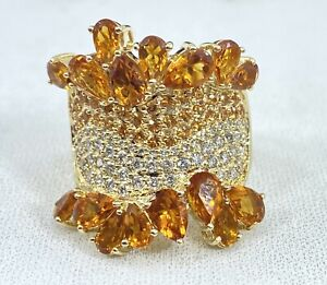 5.00 ct DIAMOND & yellow topaz citrine ring SOLID 14k yellow GOLD (VIDEO)