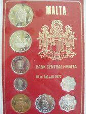 1972 Malta Proof Set Of 8 Coins with Original Cover Case