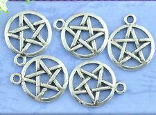 Hot 50PCs Silver Tone Pentagram Charms Theme Round Pentacle Pendants 20x17mm A5