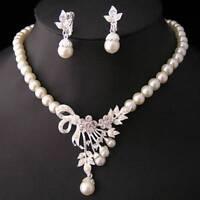 Pearls Crystal Necklace Earrings Wedding Jewelry Set Handmade Women Jewelry Sets