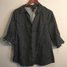 6955e215829 Lane Bryant Womens Sz 18 Black Polka Dot Short Sleeved Button Front Shirt
