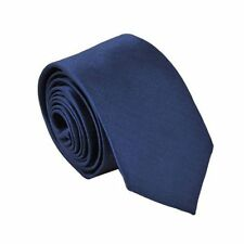 Polyester Narrow Neck Tie Skinny Solid Dark Blue Thin Necktie for Men HY