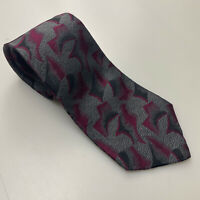 FENDI MEN COLLECTION BURGUNDY FLORAL ABSTRACT SILK TIE HANDMADE IN ITALY Z01-38