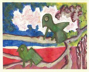 IMAGINARY BIRDS original abstract/folk/outsider? Canadian painting J.Swinton NR