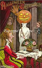 Fabric Block Halloween Greeting Vintage Postcard Image Frightened Woman