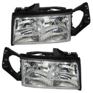 Headlights Set fits 1997-1999 Cadillac DeVille Pair Halogen Combination Headlamp