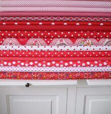 10x Stoff groß Stoffpaket ROT Tupfen Streifen Stoffe Baumwolle Patchwork Shabby