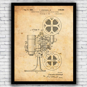 Film Reel Movie Buff Cinema Projector Patent Art Print - Size and Frame Options