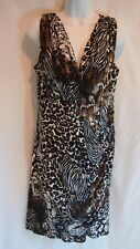 Alfani Dress Size 12 Casual Womens Animal Print Ruched Stretch Fashion Nwot