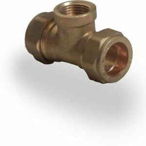 "28mm x 28mm x 1/2"" Female Iron Tee Compression Brass Fittings"