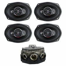 "Kenwood 6 x 9"" 650W 5-Way Coaxial Speakers, 2 Pairs + Amp Distribution Block"