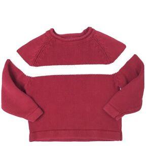 GAP Boys Red White Chunky Knit Sweater Size XS Cotton