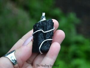 Raw Black Tourmaline + Sterling Silver Pendant / Necklace Powerful Protection