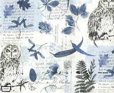 By 1/2 Yd Michael Miller Cotton Fabric ~ Wild Things ~ Wise Owl Collage in Blue