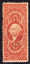 US R44c 25c CERTIFICATE REVENUE 1867 MORRIS CANAL BANKING  HANDSTAMP VG h786c