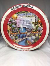 """1982 Worlds Fair 12"""" Metal Serving Tray Coca Cola New Unopened Vintage"""