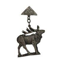Vintage ESVA Northwest Trek Elk Keychain Pin Washington Rare WA