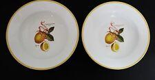 "Williams Sonoma Lemon Botanical Set 2 Large Pasta Salad Bowls 10"""