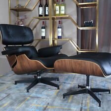 Walnut EAMES style Lounge Chair & Ottoman Genuine Leather Armchair Black