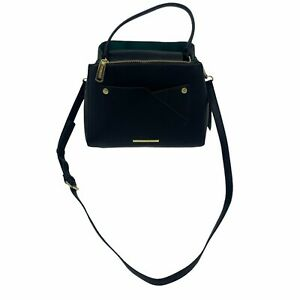 Steve Madden BBlazee Faux Leather Purse Black w/ Green Shoulder Strap Handbag