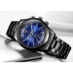 Luxury Mens Luminous Stainless Steel Analogue Sports Quartz Wrist Watches Gift
