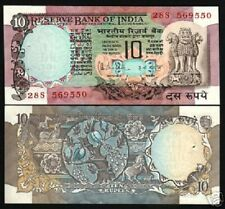 INDIA 10 RUPEES P81 D or H 1975 DEER PEACOCK HORSE UNC ANIMAL FLORA 1 BANK NOTE