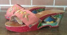 Vintage 1940s Asian Carved Tiki Hut Palm Trees Open Toe Wood Clog Bakya Shoes
