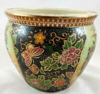 Satsuma Style Chinese Hand Painted Vase Fish Bowl W/Floral Patterns, Butterfly