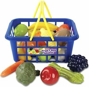 Kids Children's Shopping Basket Role Play Toy Vegetable Food Accessory Xmas Gift