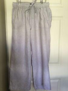 Jones New York - Beige Grey Loose Leg Linen Pants - Size L - GC