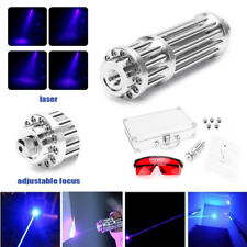 Blue Visible Beam Light High Power Laser Pointer USB Charge Ajustable Focus Box