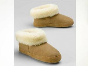 NWT Eddie Bauer Women's Shearling Boot Slippers Chestnut/Natural/Smoke/Black