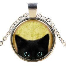 1Stk. Katze Augen Silber Cabochon Katzen Glas Halskette Anhänger Lange Kette