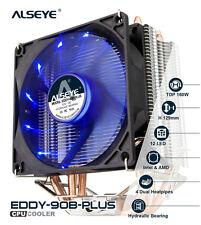CPU Cooler 120 mm LED Fan Aluminum Heatsink 4 Heatpipes Cooling System Intel AMD