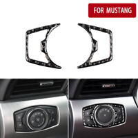 2x For Ford Mustang 6 2015-19 Carbon Fiber Car Headlight Control Decorative Trim