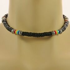 Rainbow Bead Necklace beaded choker surfer boho lgbt pride mens ladies jewellery
