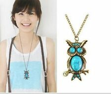Women Vintage Turquoise Rhinestone OWL Pendant Long Chain Necklace Jewellery New