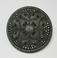Antique Victorian Black Glass Large Lacy-Type Button w/ Silver Luster