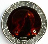 2017 CANADA 3/4 oz .9999 SILVER COLORIZED WOLF BULLION BOX & COA 98/100 (DR)