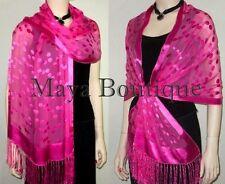 Pink Silk Shawl Scarf Wrap Devore Satin Chiffon Maya Shawls + Gift Box NWT