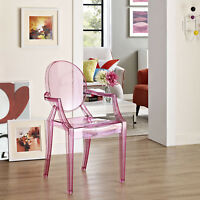 Transparent Modern Crystal Dining Accent Armchair in Pink