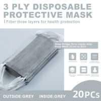 【20 Pcs】Gray Face Mask Disposable Non Medical Surgical 3-Ply Earloop Mouth Cover